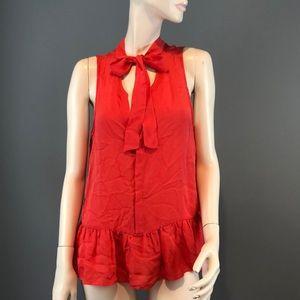 NWT Joie Aubrinna Orange Silk Blouse Sz Large